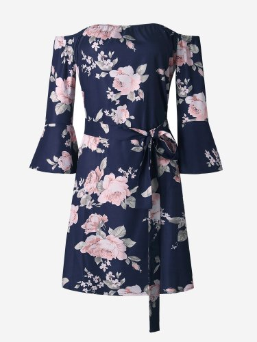 OneBling Floral Print Flare Sleeve Beach Dress