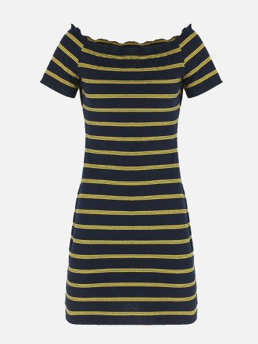 OneBling Short Sleeve Striped Off The Shoulder Knit Bodycon Dress