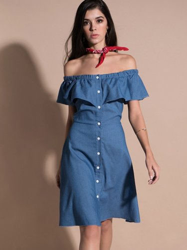 OneBling Faux Denim Single Breasted Off The Shoulder Flounced Dress