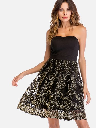 OneBling Gold Embroidery Lace Contrast Scallop Hem Bandeau Fit and Flare Dress