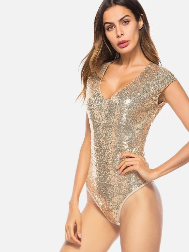 OneBling Zip-Back Cap Sleeve V-Neck Sequins Swimsuits