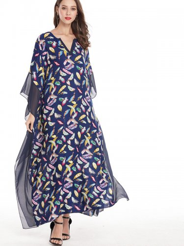 OneBling Chiffon Trim Draped Detail Plunge Neck Maxi Kimono Dress