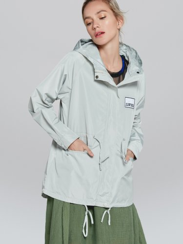 OneBling Letter Patch Hooded Trench Coat with Drawstring Design