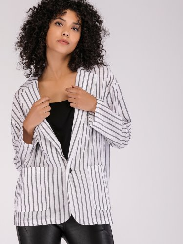 OneBling Dropped Shoulder Striped Coat with Patch Pockets