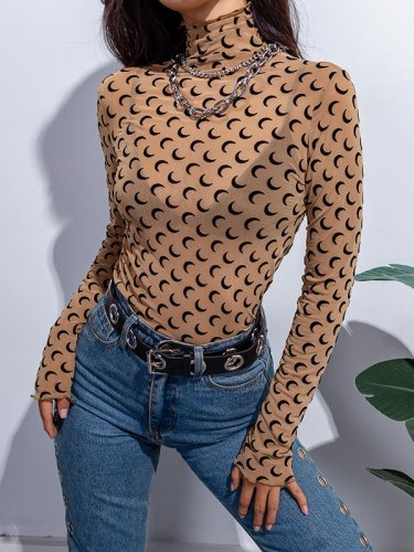 OneBling Crescent Print Sheer T-Shirt with High Neck