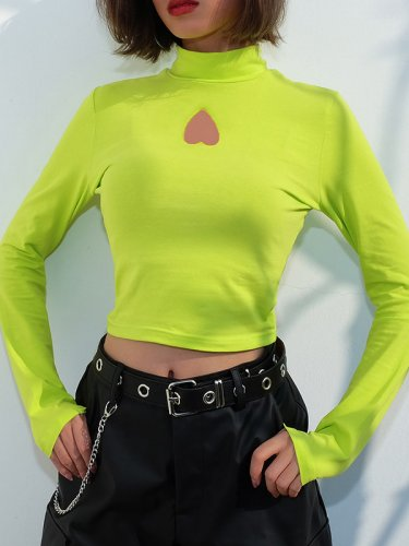 OneBling Long Sleeve Crop Tops with Heart Cut Detail