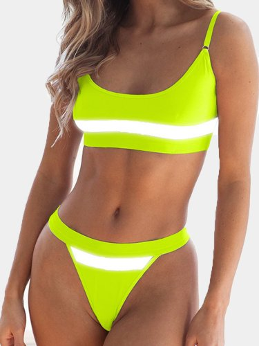 OneBling Reflective Tape Patchwork Sexy Thong Bikini Set Beachwear Summer Neon Green Push Up Bathing Suits Women Swimwear