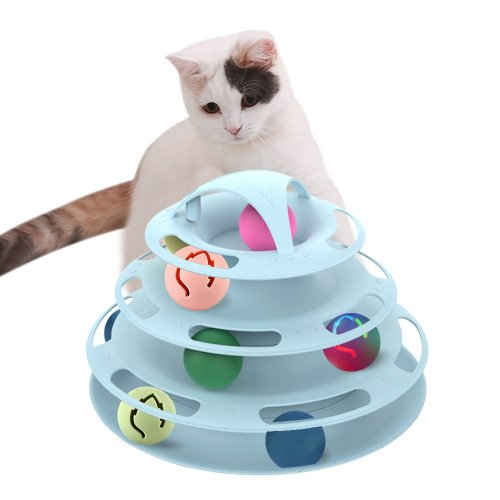 OneBling Pet Cat Toy Tower Tracks Disc Toys Cats Ball Training Plate
