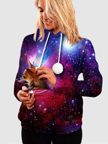 Starry Sky Digital Print Pet Pouch Hoodies