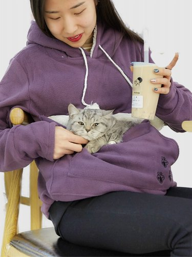 Winter Cat Carries Pouch Pocket Sweatshirt For Women