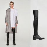 Arden Furtado 2018 winter woman over the knee thigh high boots slip on Stretch boots fashion round toe flats boots