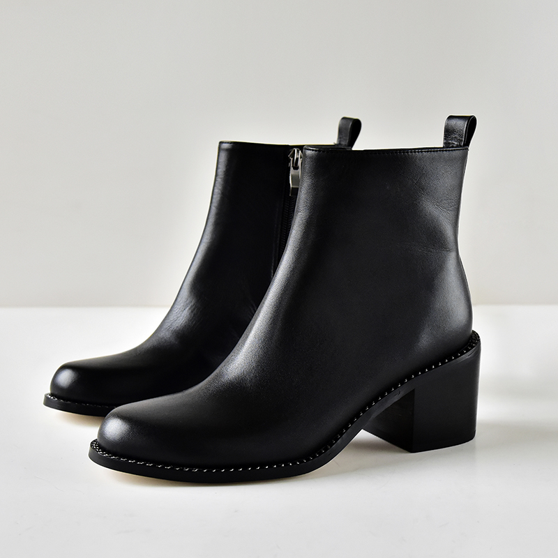 0c57b7022494 Arden Furtado 2017 spring autumn genuine leather slip on ankle boots  fashion shoes for woman hoof heels round toe chelsea boots Item NO  KA071