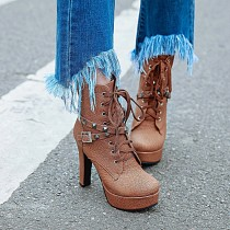 Arden Furtado big size woman shoes 40-50 small size 30-33 platform high heels 12cm ankle boots lace-up shoes for woman