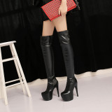 2018 fashion winter high heels 15cm platform sexy winter boots shoes for woman over the knee thigh high long boots short plush white Stretch boots