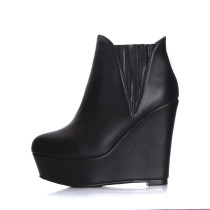 2018 winter genuine leather wedges high heels ankle boots shoes for woman platform fashion boots women