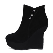 arden furtado 2018 new style genuine lether suede platform wedges high heels fashion ankle boots shoes for woman