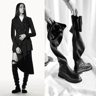 Arden Furtado winter woman over the knee thigh high boots square heels genuine leather slip on casual boots flat platform boots