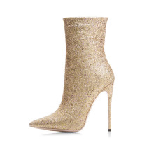 spring autumn boots high heels 12cm sexy fashion ankle boots bling bling shoes for woman big size 33-43
