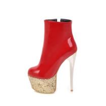 Arden Furtado Women Shoes Sexy 2018 new winter ankle Boots Ladies Fashion High Heels 16cm Woman red white platform boots Stilettos