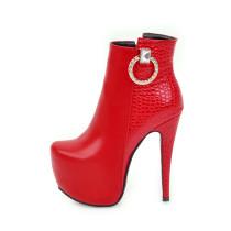 Arden Furtado Women Shoes Sexy 2018 new winter ankle Boots Ladies Fashion High Heels 14 cm rhinestone red white platform boots