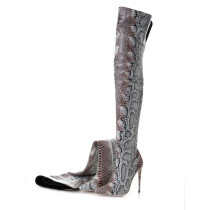 Arden Furtado spring autumn fashion high heels 12cm over the knee boots shoes woman pointed toe stilettos sexy serpentine boots