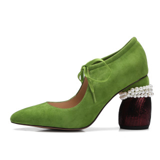 Arden Furtado spring fashion shoes woman high Pearls heels Green pumps party shoes size 33 42