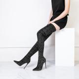 Arden Furtado spring autumn fashion high heels 12cm polka dot over the knee boots shoes woman pointed toe sexy stilettos
