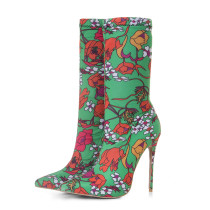 Arden Furtado 2018 new style flowers ankle boots fashion boots fashion extreme high heels woman 12cm flowers stilettos heel slip-on women shoes plus size customize stretch boots
