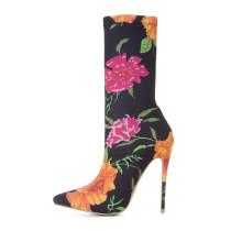 Arden Furtado fashion extreme high heels woman 12cm flowers stilettos heel slip-on women shoes plus size customize stretch boots