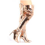 Arden Furtado over the knee high boots gold silver stilettos fashion boots sexy high heels plus size pointed toe shoes size 46 47 48