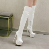 Arden Furtado 2018 winter sexy high heels 16cm platform night club over the knee high boots shoes for woman patent leather stilettos red white boots
