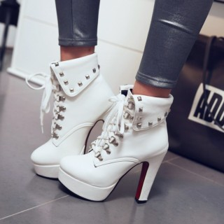 2018 new style big size shoes rivets platform ankle boots high heels boots