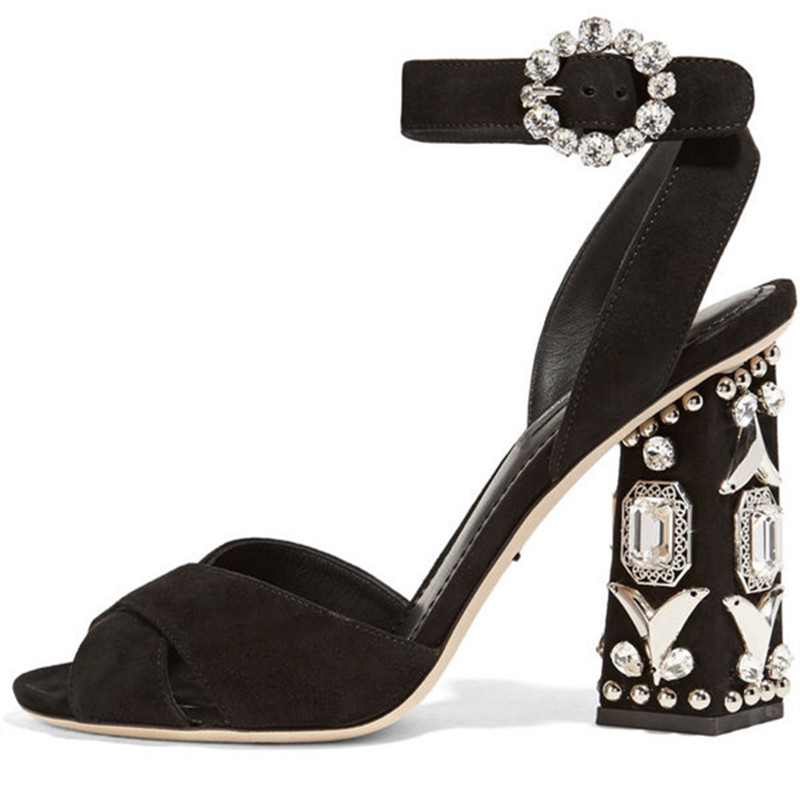 Arden Furtado Women Shoes Sexy 2018 summer Ladies Fashion High Heels 10cm  Woman sandals crystal hoof heels buckle strap big size shoes Item NO  LAO69 180a97565461