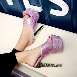 2018 summer slippers platform high heels 16cm peep toe big size 44 45 46 47 48 shoes for woman red purple sandals