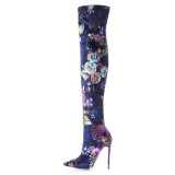 Arden Furtado 2018 spring autumn high heels 12cm fashion flowers boots for woman over the knee Stretch boots stilettos big size