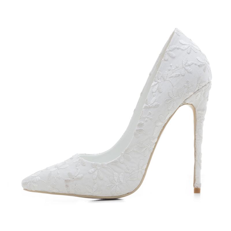Arden Furtado 2018 New Style Slip On Y High Heels 12cm White Lace Wedding Shoes For Woman Stilettos Item No Ac41