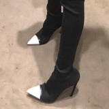 spring autumn new style high heels fashion Stretch boots slip on knee high boots shoes for woman plus size women shoes white toe