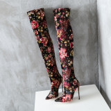 2018 spring summer stilettos high heels 12cm over the knee print flowers stretch fabic slip on fashion boots shoes woman ladies
