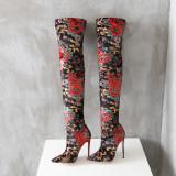 Arden Furtado 2018 spring summer stilettos high heels 12cm over the knee print flowers stretch fashion boots shoes woman ladies