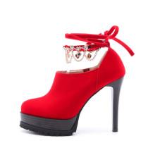 2018 spring autumn platform round toe red stilettos pumps big size 40-43 ankle strap high heels 11cm tassels shoes
