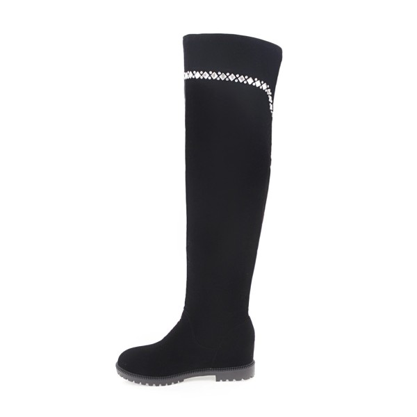 winter black suede flat platform over the knee boots thigh high plush boots women big size