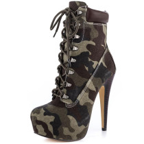 Arden Furtado spring autumn high heels ankle boots platform lace up cross tied short boots camouflage fashion shoes
