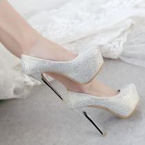 2018 autumn new style platform wedding shoes platform gold silver crystal rhinestone stilettos heels round toe pumps big size 48