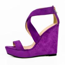 Arden Furtado summer fashion high heels woman buckle strap platform shoes purple wedges sandals zipper shoes