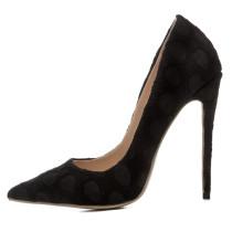2018 autumn slip on fashion pumps stilettos black ladies sexy high heels Net yarn shoes