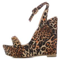 Arden Furtado summer high heels Leopard  buckle strap fashion sandals pen toe wedges sandals