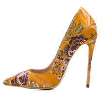 Arden Furtado 2018 spring autumn new style shoes for woman yellow blue flowers pumps fashion stilettos sexy high heels 12cm 45