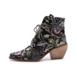 Arden Furtado spring autumn new style flowers chunky heels cross tied ankle boots shoes woman Ethnic matin boots