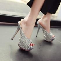 2018 summer high heels 13cm stilettos peep toe sexy platform silver mules glisten  glitter slippers slides