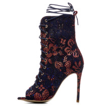 Arden Furtado 2018 spring summer high heels 12cm stilettos ankle strap sexy ankle boots big size flowers peep toe woman shoes